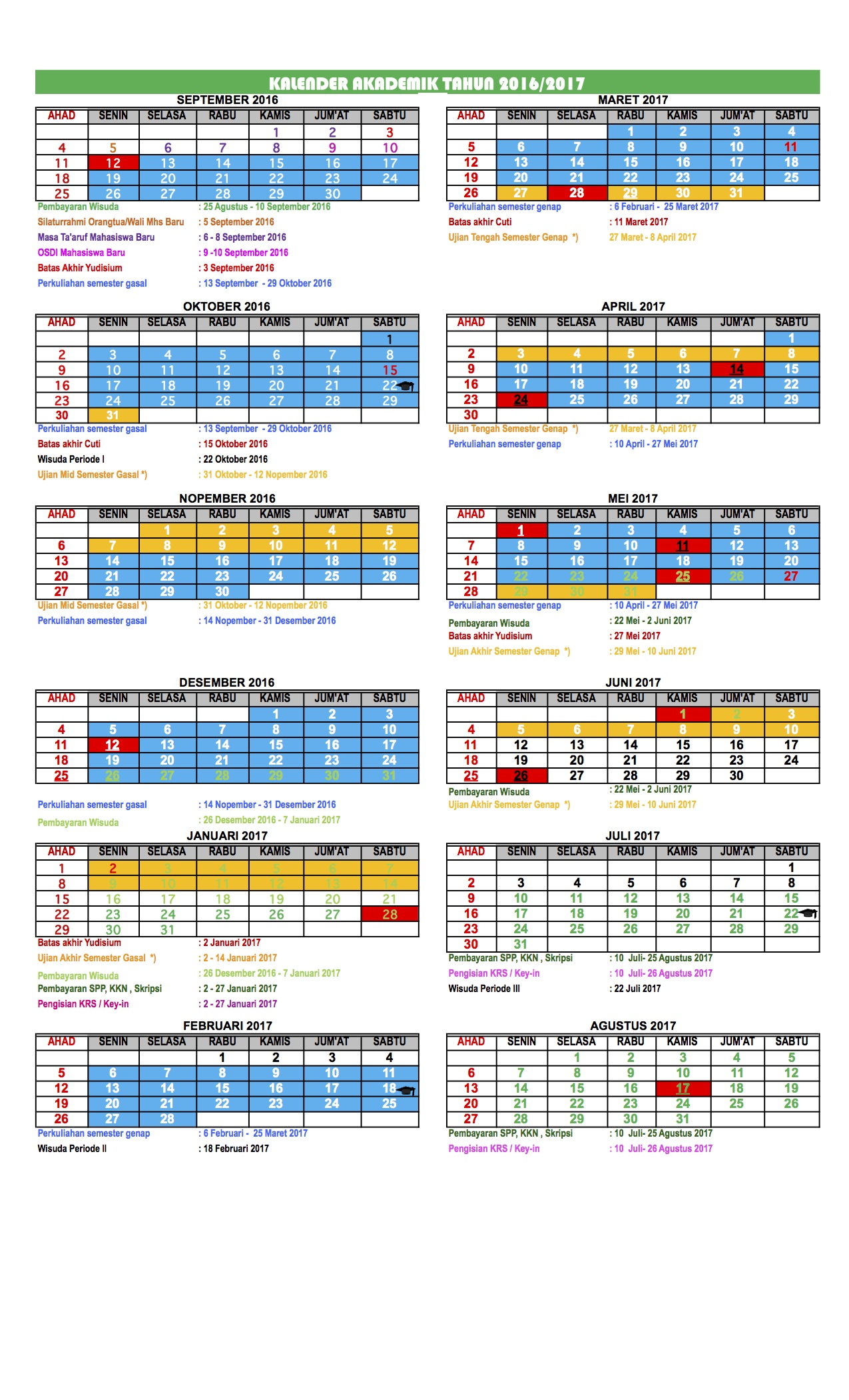 Kalender Akademik 2016/2017